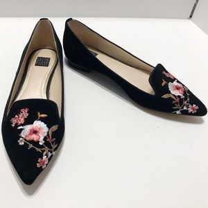WHBM Floral Embroidered Point Toe Flats